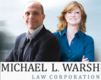 Photo Michael Warsh law corp lawyers Michael Warsh (family and wills lawyer)  & Sabrina Yeudall  (family & employment  law lawyer)